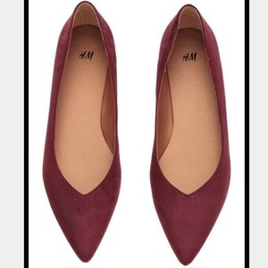 H&M pointy flats size 6 burgundy color
